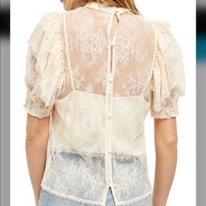 NWT Free People Secret Admirer Blouse In Ivory